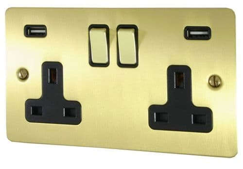 G&H FSB3910 Flat Plate Satin Brushed Brass 2 Gang Double 13A Switched Plug Socket 2.1A USB